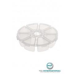 Boite de rangement ronde 8 compartiments Translucide