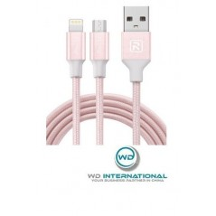 Câble Recci Rose Micro USB + 2 Lightning Charge Rapide 1.2m