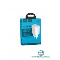 Adaptateur secteur Hoco C62A charge rapide 2 ports USB Blanc