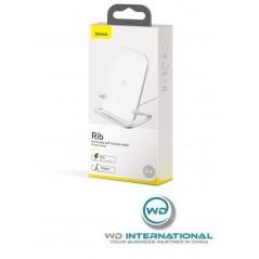 Chargeur Sans Fil Blanc Baseus Rib Horizontal et Vertical Support 15W (WXPG-02)