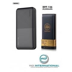 Batterie Externe Noire Remax Modèle RPP 136 20 000 mAh