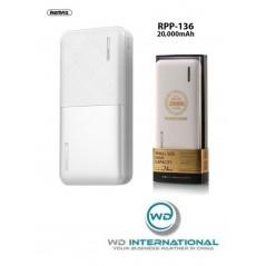 Batterie Externe Blanche Remax Modèle RPP 136 20 000 mAh
