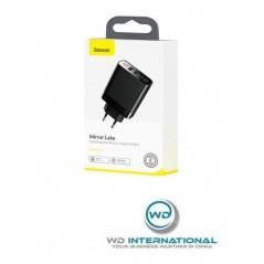 Chargeur Secteur Noir Baseus Mirror Lake Digital Display USB x4 30W (CCJMHB-B01)