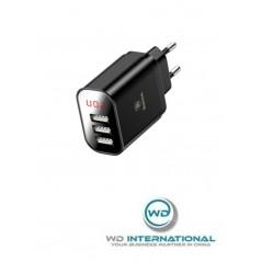 Adaptateur Secteur avec Affichage Noir Baseus Mirror Travel USB x3 3.4A (CCALL-BH01)