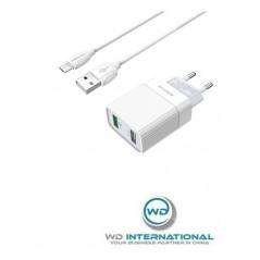 Adaptateur Secteur Blanc QC3.0 + câble Micro-USB 1m Borofone (BA39A)