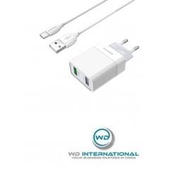 Adaptateur Secteur Blanc USBx2 + Câble Micro-USB 1m Borofone (BA39A)