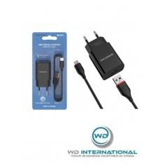 Adaptateur Secteur 2.1A Noir + Câble Micro-USB 1m Borofone (BA20A)