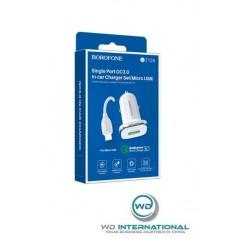 Chargeur Voiture QC3.0 + Câble Micro-USB 1m Blanc Borofone (BZ12A)