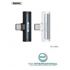 Remax-Adapter USB Typ-C - USB Typ-C + Audio Weiß RL-LA03a