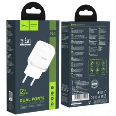 Adaptateur Secteur Hoco N4 2.4A Double USB Blanc