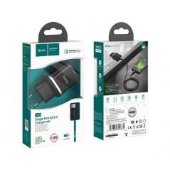 Adaptateur Secteur Hoco N3 + Câble Micro USB C 1M Noir