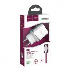 Adaptateur Secteur Hoco N3 + Câble Micro USB C 1M Blanc