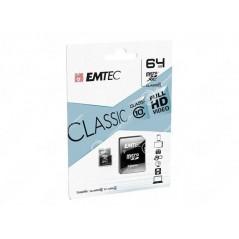 Carte Micro SDXC Emetec 64Go Class 10 + Adaptateur