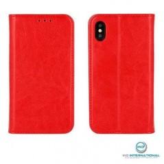 Housse portefeuille Rouge Samsung S8+ en cuir véritable Premium